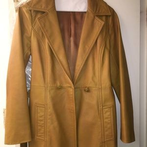 ARDEN B LEATHER TRENCH JACKET FUR COLLAR XS